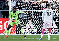 WASHINGTON, DC - MARCH 07: Rodolfo Pizzarro #10 of Inter Miami watches as Bill Hamid #24 of DC United makes a play during a game between Inter Miami CF and D.C. United at Audi Field on March 07, 2020 in Washington, DC.
