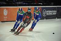 SPEEDSKATING: DORDRECHT: 05-03-2021, ISU World Short Track Speedskating Championships, QF 1500m Men, Charles Hamelin (CAN), Luca Spechenhauser (ITA), Pietro Sighel (ITA), ©photo Martin de Jong