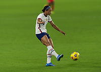 ORLANDO CITY, FL - FEBRUARY 18: Lynn Williams #6 passes the ball during a game between Canada and USWNT at Exploria stadium on February 18, 2021 in Orlando City, Florida.