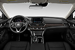 Stock photo of straight dashboard view of 2021 Honda Accord-Sedan Sport-SE 4 Door Sedan Dashboard