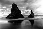 Black and white of two seastacks at Bandon Beach Oregon