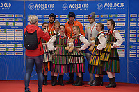 SPEEDSKATING: 23-11-2019 Tomaszów Mazowiecki (POL), ISU World Cup Arena Lodowa, Podium 1500m Men Division A, Kjeld Nuis, Thomas Krol (NED), Denis Yuskov (RUS), ©photo Martin de Jong