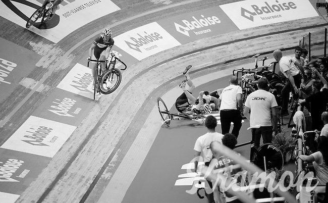 Otto Vergaerde (BEL/Topsport Vlaanderen-Baloise) dodges a flying bike after a crash in the scratch by David Muntaner (ESP) & Yoeri Havik (NLD/3M)<br /> <br /> 2015 Gent 6