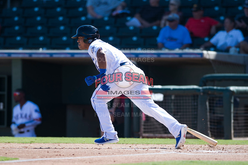 Surprise Saguaros designated hitter Meibrys Viloria (9), of the Kansas City Royals organization, starts down the first base line during an Arizona Fall League game against the Salt River Rafters on October 9, 2018 at Surprise Stadium in Surprise, Arizona. Salt River defeated Surprise 10-8. (Zachary Lucy/Four Seam Images)