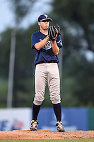 Logan Crouse (13) of Bloomingdale High School in Valrico, Florida playing for the Tampa Bay Rays scout team during the East Coast Pro Showcase on August 1, 2014 at NBT Bank Stadium in Syracuse, New York.  (Mike Janes/Four Seam Images)
