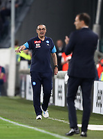 Calcio, Serie A: Juventus - Napoli, Torino, Allianz Stadium, 22 aprile, 2018.<br /> Napoli's coach Maurizio Sarri gestures during the Italian Serie A football match between Juventus and Napoli at Torino's Allianz stadium, April 22, 2018.<br /> UPDATE IMAGES PRESS/Isabella Bonotto