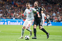 Spain Sergio Ramos and Argentina Gonzalo Higuaín during friendly match between Spain and Argentina at Wanda Metropolitano in Madrid , Spain. March 27, 2018.  *** Local Caption *** © pixathlon<br /> Contact: +49-40-22 63 02 60 , info@pixathlon.de