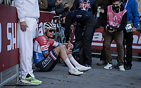 Mathieu Van der Poel (NED/Alpecin-Fenix) needing to sit down after finishing victoriously at the Piazza del Campo in Siena<br /> <br /> 15th Strade Bianche 2021<br /> ME (1.UWT)<br /> 1 day race from Siena to Siena (ITA/184km)<br /> <br /> ©kramon