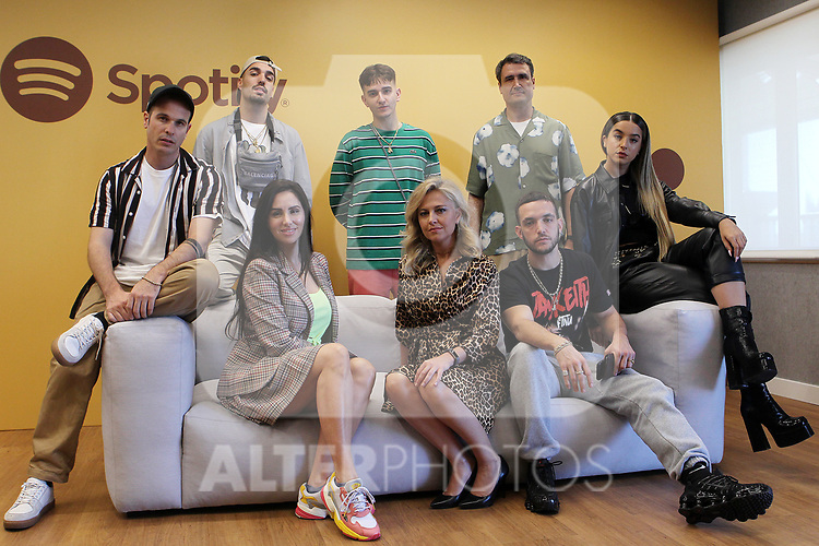 Alizzz (l), Reals B, Recycled J, Cesar Lores, Lola Indigo (r), C Tangana, Federica Tremolada and Mala Rodriguez during the Spanish Urban Music Event organized by Spotify on September 25, 2019 in Madrid, Spain.(ALTERPHOTOS/ItahisaHernandez)