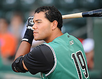 Infielder Chris Dominguez (19) of the Augusta GreenJackets prior to a game against the Greenville Drive on June 7, 2010, at Fluor Field at the West End in Greenville, S.C. Photo by: Tom Priddy/Four Seam Images
