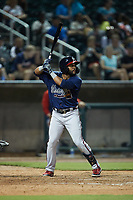 Wendell Rijo (11) of the Mississippi Braves at bat against the Birmingham Barons at Regions Field on August 3, 2021, in Birmingham, Alabama. (Brian Westerholt/Four Seam Images)