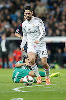 Real Madrid´s Isco (L) and Cornella´s David Garcia during Spanish King Cup match between Real Madrid and Cornella at Santiago Bernabeu stadium in Madrid, Spain.December 2, 2014. (NortePhoto/ALTERPHOTOS/Victor Blanco)