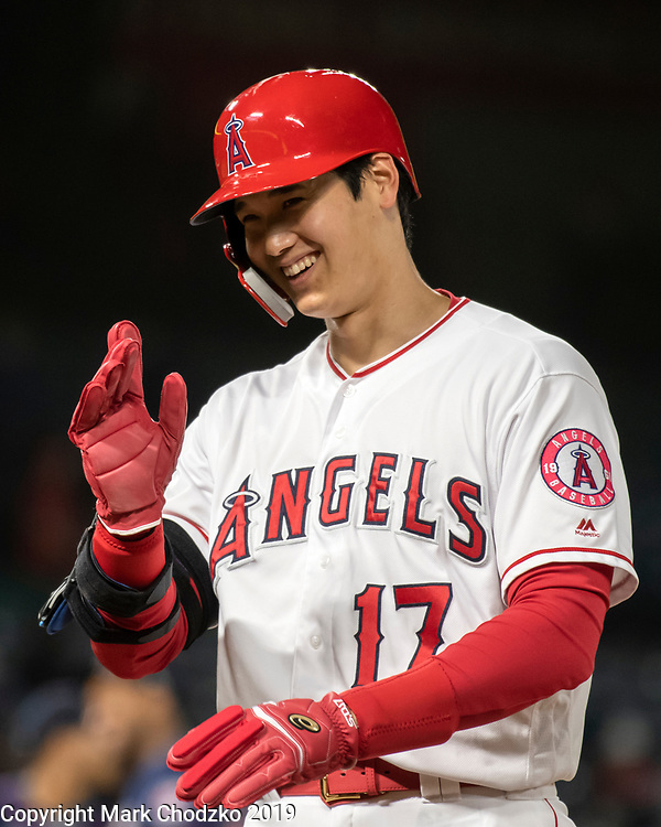 L.A. Angels Shohei Otani is all smiles after hitting another home run.