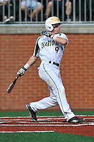 Second baseman Brett Netzer (9) of the Charlotte 49ers bats in a game against the Fairfield Stags on Saturday, March 12, 2016, at Hayes Stadium in Charlotte, North Carolina. (Tom Priddy/Four Seam Images)