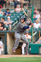 Lehigh Valley IronPigs catcher Logan Moore (35) at bat during a game against the Rochester Red Wings on June 30, 2018 at Frontier Field in Rochester, New York.  Lehigh Valley defeated Rochester 6-2.  (Mike Janes/Four Seam Images)