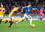 Motherwell v St Johnstone…20.10.18…   Fir Park    SPFL<br />Matty Kennedy is tracked by Peter Hartley<br />Picture by Graeme Hart. <br />Copyright Perthshire Picture Agency<br />Tel: 01738 623350  Mobile: 07990 594431