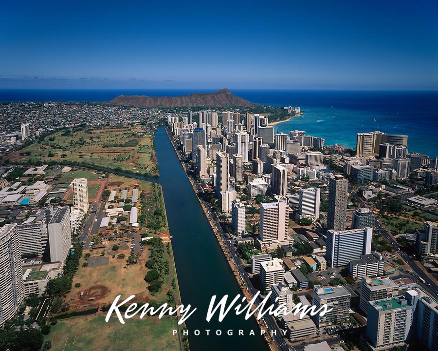 Ala Wai Canal, Waikiki & Diamond Head Crater, Aerial View, Honolulu, Oahu, Hawaii, HI, USA.