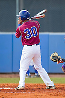 Aaron Preston (30) of the Presbyterian Blue Hose at bat against the High Point Panthers at the Presbyterian College Baseball Complex on March 3, 2013 in Clinton, South Carolina.  The Blue Hose defeated the Panthers 4-1.  (Brian Westerholt/Four Seam Images)