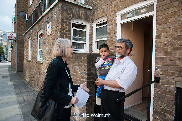 Sue Sommers, vice-chair of Drummond Street Tenants and Residents Association, and Yasin and Sajjat Miah, who live within the HS2 Safeguarding Area immediately adjacent to the HS2 high-speed rail construction site at Euston station.  Residents in the area are demanding compensation for the 10 years of construction work on the same basis as affected residents in rural areas.