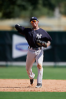 GCL Yankees West shortstop Roberto Chirinos (32) throws to first base during the first game of a doubleheader against the GCL Braves on July 30, 2018 at Champion Stadium in Kissimmee, Florida.  GCL Yankees West defeated GCL Braves 7-5.  (Mike Janes/Four Seam Images)
