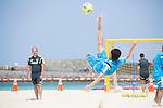 (R-L) Shusei Yamauchi,   Marcelo Mendes (JPN),<br /> APRIL 20, 2014 - Beach Soccer :<br /> Beach Soccer Japan national team candidates training camp in Okinawa, Japan. (Photo by Wataru Kohayakawa/AFLO)