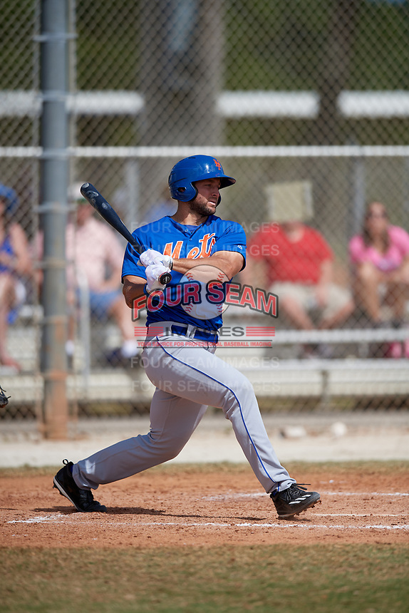 New York Mets Tim Tibow (15) bats during a minor league Spring Training game against the Miami Marlins on March 26, 2017 at the Roger Dean Stadium Complex in Jupiter, Florida.  (Mike Janes/Four Seam Images)