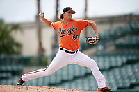 Baltimore Orioles pitcher Matthias Dietz (60) delivers a pitch during an Instructional League game against the Tampa Bay Rays on October 2, 2017 at Ed Smith Stadium in Sarasota, Florida.  (Mike Janes/Four Seam Images)