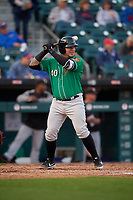 Norfolk Tides Jesus Sucre (40) bats during an International League game against the Buffalo Bisons on June 21, 2019 at Sahlen Field in Buffalo, New York.  Buffalo defeated Norfolk 1-0, the second game of a doubleheader.  (Mike Janes/Four Seam Images)