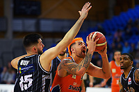 Sharks captain Dominic Kelman-Poto in action during the National Basketball League Final Four semifinal match between Hawkes Bay Hawks and Southland Sharks at Te Rauparaha Arena in Porirua, New Zealand on Thursday, 22 July 2021. Photo: Dave Lintott / lintottphoto.co.nz