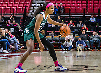 COLLEGE PARK, MD - FEBRUARY 03: Nia Clouden #24 of Michigan State on the attack during a game between Michigan State and Maryland at Xfinity Center on February 03, 2020 in College Park, Maryland.