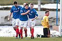 Cowdenbeath's Craig Moore (9) celebrates after he scores their first goal.