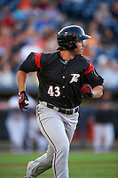 Richmond Flying Squirrels designated hitter Chris Shaw (43) runs to first base during a game against the Akron RubberDucks on July 26, 2016 at Canal Park in Akron, Ohio .  Richmond defeated Akron 10-4.  (Mike Janes/Four Seam Images)