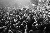 November 15 1976 File photo - Montreal (Qc) CANADA -  Candidates of the Parti Quebecois celebrate the 1976 victory with the party leader Rene Levesque , November 15 1976 at Centre Paul Sauve.