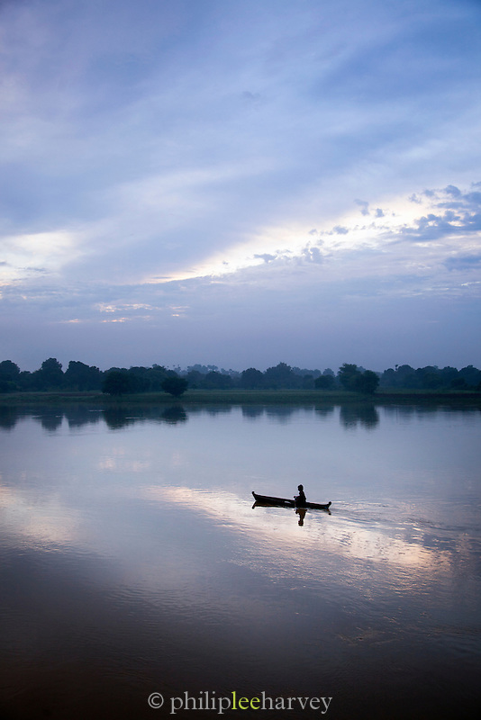 A fishing boat on the Irrawaddy River at dawn, Myanmar