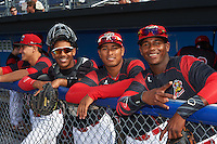 Batavia Muckdogs (L-R) Mike Garzillo, Pablo Garcia, Jhonny Santos, Samuel Castro before a game against the Hudson Valley Renegades on July 31, 2016 at Dwyer Stadium in Batavia, New York.  Hudson Valley defeated Batavia 4-1. (Mike Janes/Four Seam Images)