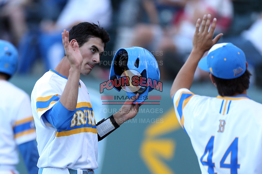 Luke Persico #21 of the UCLA Bruins during a game against the Stanford Cardinal at Jackie Robinson Stadium on May 2, 2014 in Los Angeles, California. UCLA defeated Stanford, 7-2. (Larry Goren/Four Seam Images)