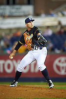 Wilmington Blue Rocks relief pitcher Jake Newberry (37) during a game against the Lynchburg Hillcats on June 3, 2016 at Judy Johnson Field at Daniel S. Frawley Stadium in Wilmington, Delaware.  Lynchburg defeated Wilmington 16-11 in ten innings.  (Mike Janes/Four Seam Images)