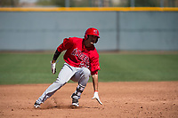 Los Angeles Angels outfielder Ryan Vega (22) during a Minor League Spring Training game against the Chicago Cubs at Sloan Park on March 20, 2018 in Mesa, Arizona. (Zachary Lucy/Four Seam Images)