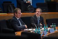 2. NSU-Untersuchungsausschuss dees Deutschen Bundestag.<br /> Aufgrund vieler Ungeklaertheiten und Fragen sowie vielen neuen Erkenntnissen ueber moegliche Verstrickungen verschiedener Geheimdienste in das Terror-Netzwerk Nationalsozialistischen Untergrund (NSU) wurde von den Abgeordneten des Bundestgas ein zweiter Untersuchungsausschuss eingesetzt.<br /> Am Donnerstag den 17. Dezember fand die 1. oeffentliche Sitzung des 2. NSU-Untersuchungsausschuss des Deutschen Bundestag statt.<br /> Im Bild vlnr.: Die Sachverstaendigen Ministerialdirigent Frank Niehoerster, Abteilungsleiter Polizei im Innenministerium von Mecklenburg-Vorpommern und NRW-Verfassungsschutzchef Burkhard Freier.<br /> 17.12.2015, Berlin<br /> Copyright: Christian-Ditsch.de<br /> [Inhaltsveraendernde Manipulation des Fotos nur nach ausdruecklicher Genehmigung des Fotografen. Vereinbarungen ueber Abtretung von Persoenlichkeitsrechten/Model Release der abgebildeten Person/Personen liegen nicht vor. NO MODEL RELEASE! Nur fuer Redaktionelle Zwecke. Don't publish without copyright Christian-Ditsch.de, Veroeffentlichung nur mit Fotografennennung, sowie gegen Honorar, MwSt. und Beleg. Konto: I N G - D i B a, IBAN DE58500105175400192269, BIC INGDDEFFXXX, Kontakt: post@christian-ditsch.de<br /> Bei der Bearbeitung der Dateiinformationen darf die Urheberkennzeichnung in den EXIF- und  IPTC-Daten nicht entfernt werden, diese sind in digitalen Medien nach §95c UrhG rechtlich geschuetzt. Der Urhebervermerk wird gemaess §13 UrhG verlangt.]
