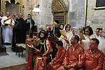 Easter, Syrian Orthodox Archbishop Mar Malki Murad presides over the Maundy Thursday ceremony at the Syrian Orthodox St. Mark's Church in Jerusalem