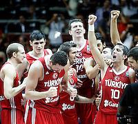 Turkey players celebrates win over Serbia , semi-final World championship basketball match in Istanbul, Serbia-Turkey, Turkey on Saturday, Sep. 11, 2010. (Novak Djurovic/Starsportphoto.com) ..