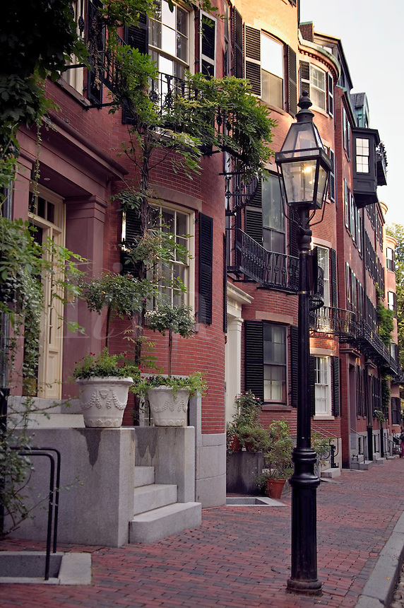 Brownstone homes in Louisburg Square on Beacon Hill Boston MA