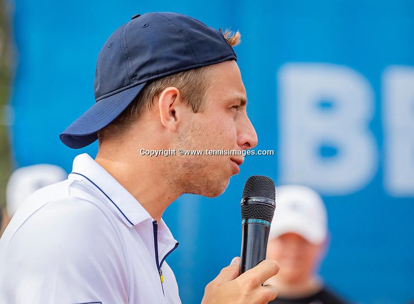 Amstelveen, Netherlands, 1 August 2020, NTC, National Tennis Center, National Tennis Championships, Men's Doubles final: Tallon Griekspoor speach.<br /> Photo: Henk Koster/tennisimages.com
