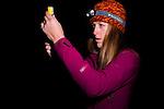 Mountain Lion (Puma concolor) biologist, Justine Alyssa Smith, preparing drugs to sedate sub-adult male for collaring, Santa Cruz Puma Project, Santa Cruz, Monterey Bay, California