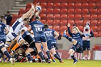 19th December 2020; AJ Bell Stadium, Salford, Lancashire, England; European Champions Cup Rugby, Sale Sharks versus Edinburgh; Faf de Klerk of Sale Sharks has his kick blocked