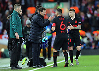 Atletico Madrid manager Diego Simeone issues instructions to Koke <br /> <br /> Photographer Rich Linley/CameraSport<br /> <br /> UEFA Champions League Round of 16 Second Leg - Liverpool v Atletico Madrid - Wednesday 11th March 2020 - Anfield - Liverpool<br />  <br /> World Copyright © 2020 CameraSport. All rights reserved. 43 Linden Ave. Countesthorpe. Leicester. England. LE8 5PG - Tel: +44 (0) 116 277 4147 - admin@camerasport.com - www.camerasport.com