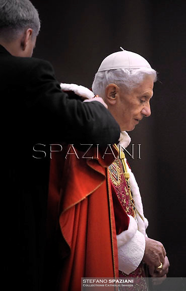 Pope Benedict XVI the prayer with the ecumenical christian community of Taize in St.Peter's square at the Vatican. December 29, 2012..