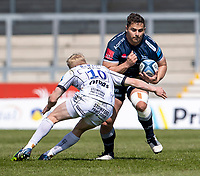 17th April 2021; AJ Bell Stadium, Salford, Lancashire, England; English Premiership Rugby, Sale Sharks versus Gloucester; Rohan Janse van Rensburg of Sale Sharks is tackled by George Barton of Gloucester Rugby