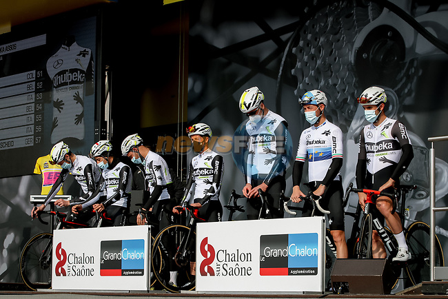 Team Qhubeka Assos at sign on before Stage 4 of Paris-Nice 2021, running 187.5km from Chalon-sur-Saone to Chiroubles, France. 10th March 2021.<br /> Picture: ASO/Fabien Boukla | Cyclefile<br /> <br /> All photos usage must carry mandatory copyright credit (© Cyclefile | ASO/Fabien Boukla)