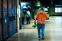 NEW YORK, NY - OCTOBER 20: A MTA worker walks at Gran Central Terminal on October 20, 2020 in New York, At least 7.4% MTA workers under NYC Transit have tested positive for the COVID-19 virus along the pandemic, or 3,921 out of about 53,000 workers, according to the MTA's statistics. (Photo by Eduardo MunozAlvarez/VIEWpress)